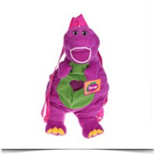 Cute Purple Plush Barney Doll Toy Packback